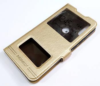 Чехол книжка с окошками momax для Xiaomi Mi Play золотой
