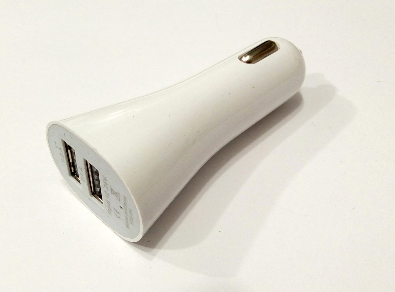 Зарядное устройство автомобильное блочок 2USB белый
