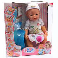 Интерактивная кукла Baby Born с мишкой. Пупс аналог с одеждой и аксессуарами 10 функций беби борн 8006-18