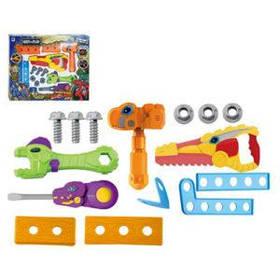 Набор инструментов 661-344  пила-звук,свет,отвертка,молоток,бат(табл),в кор-ке,38-29,5-6см