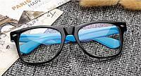 Имиджевые очки с прозрачной линзой анти блик Черный+голубой