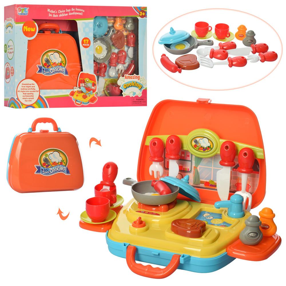 Посуда 16803-A  плита, сковородка,кух.принадл,продукты, в чемодане, в кор,53,5-35-10,5см