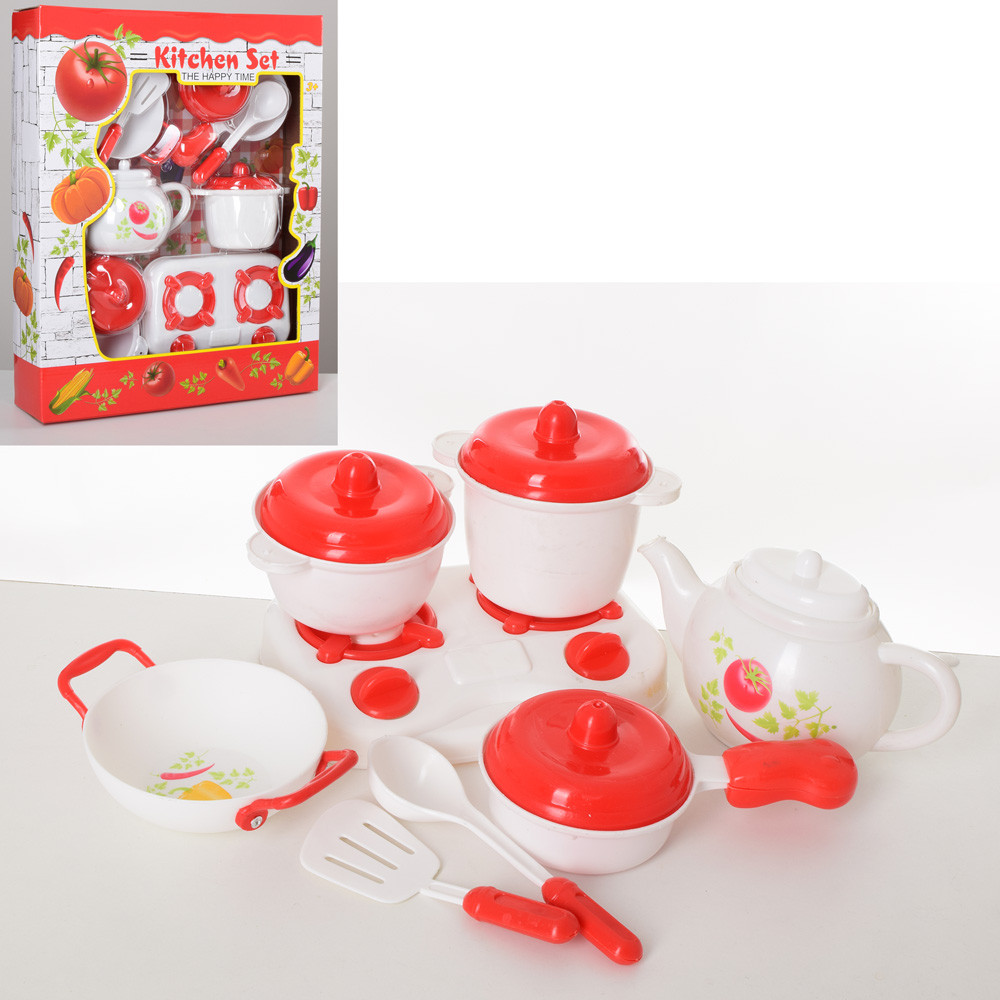 Посуда LN1010E  плита, чайник, кастрюли, сковородка, кух.принадлежности, в кор-ке, 34-43-8см