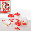 Посуда LN1010E (18шт) плита, чайник, кастрюли, сковородка, кух.принадлежности, в кор-ке, 34-43-8см