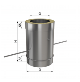Регулятор тяги дымохода нерж/нерж 1 мм 130/200