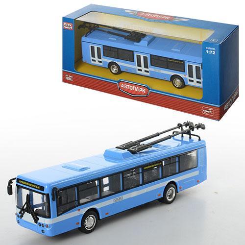 Троллейбус 6407B  металл, инер-й, 16-4,5-3,5см,1:72, рез.колеса, в кор-ке, 20-8-6см
