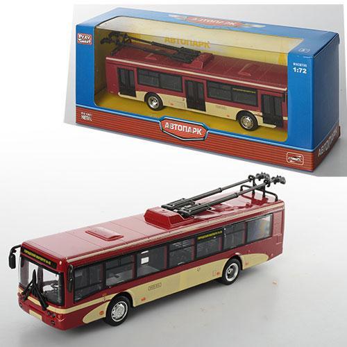 Троллейбус 6407C  металл, инер-й, 16-4,5-3,5см,1:72, рез.колеса, в кор-ке, 20-8-6см