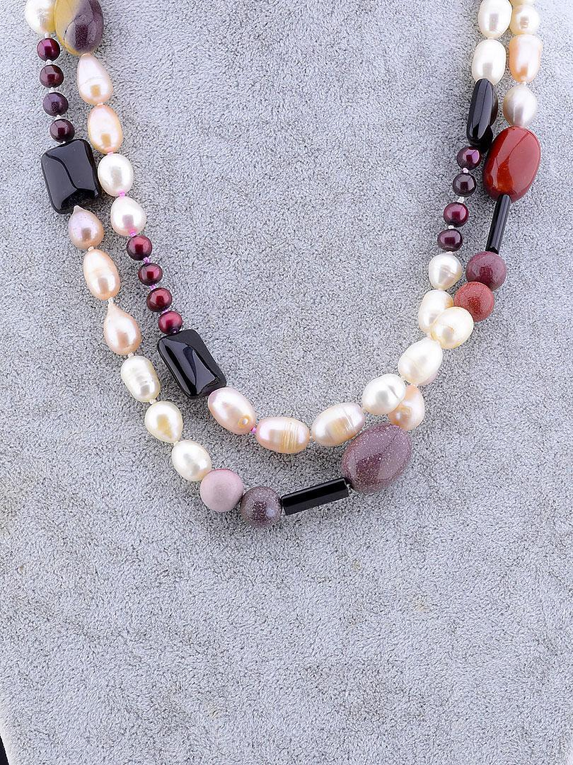 Бусы  из натуральных камней Жемчуг, Яшма 100 см.- модное стильное женское украшение