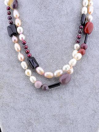 Бусы  из натуральных камней Жемчуг, Яшма 100 см.- модное стильное женское украшение, фото 2