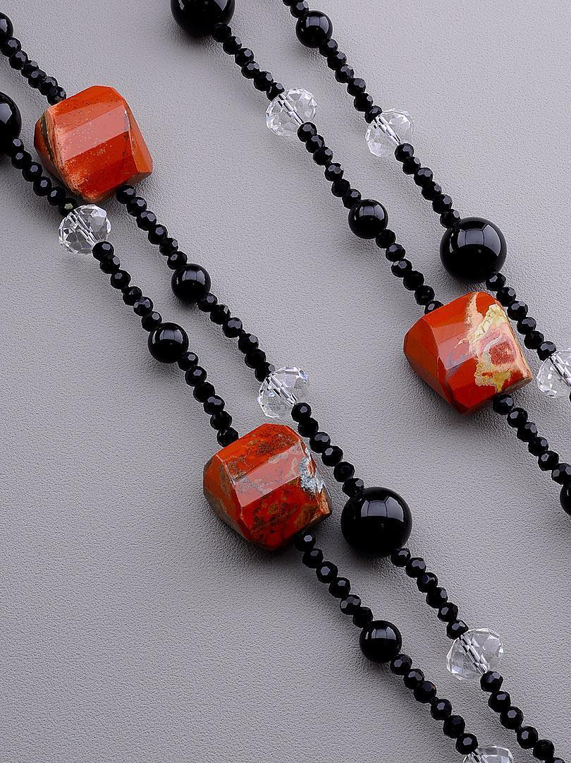 Бусы из натуральных камней Чешский хрусталь и Яшма 160 см. - стильное женское украшение