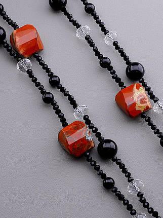 Бусы из натуральных камней Чешский хрусталь и Яшма 160 см. - стильное женское украшение, фото 2