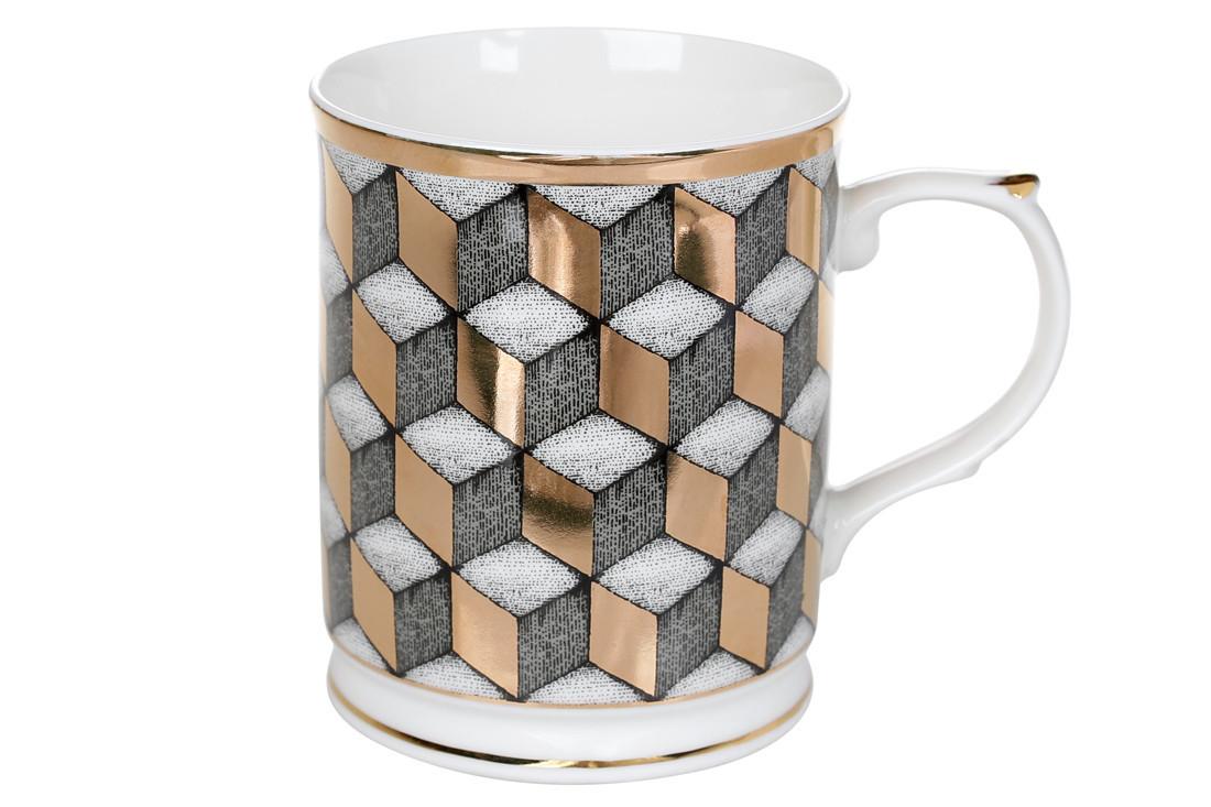 Кружка фарфоровая 400мл с золотым геометрическим рисунком (331-738)