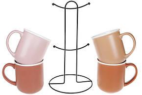 Набор (4 шт) фарфоровых матовых кружек 380мл на металлической подставке, микс цветов Терракотта (432-005), фото 2