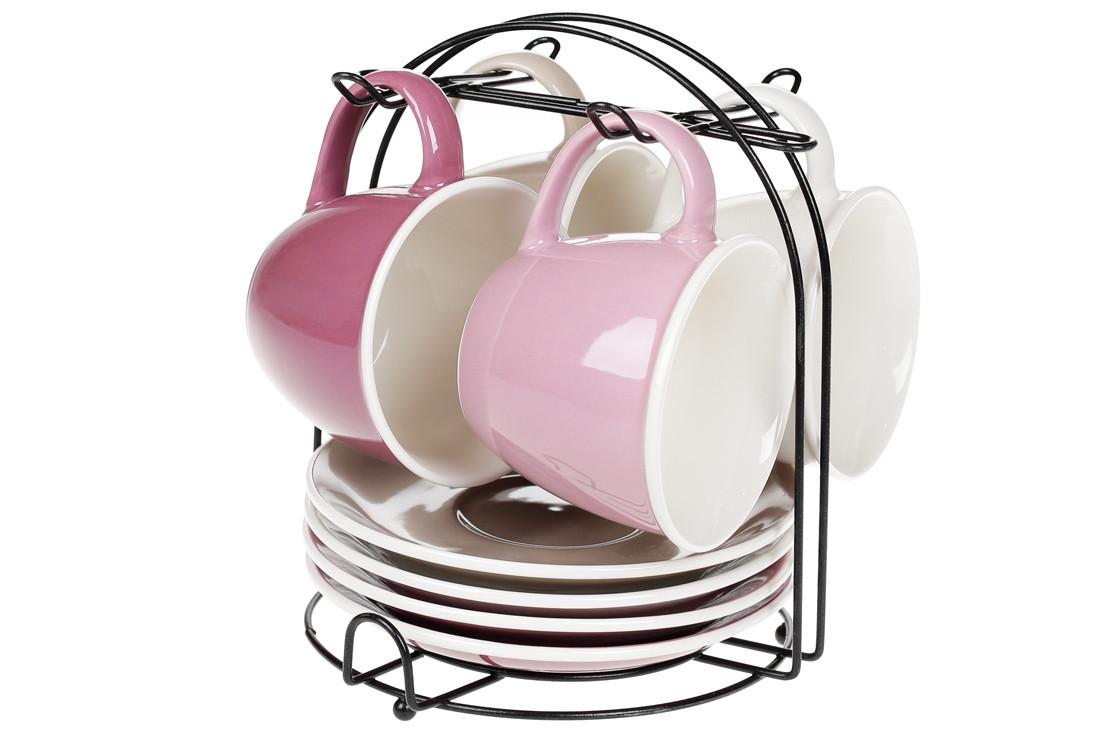Набор (4 шт) фарфоровых чашек 170мл с блюдцами на металлической подставке Лавандовое поле (432-010)