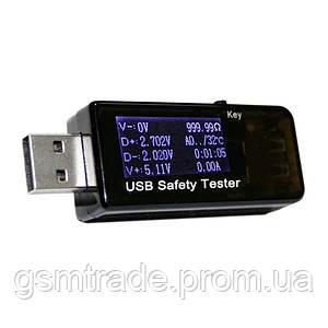 USB тестер тока напряжения потребляемой энергии 3–30V Черный (R0088)