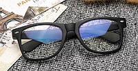 Имиджевые очки с прозрачной линзой анти блик Чёрный матовый