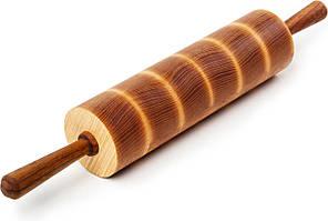 Деревянная Торцевая Скалка PORSHEN Из Ясеня И Ореха С Масляной Пропиткой 27 х 45 см (КТ 001DP)