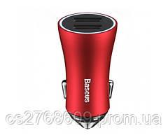 """Автомобільний зарядний пристрій USB (МР3) Baseus (2,4 А 2 USB) """"DZ09"""" (red)"""