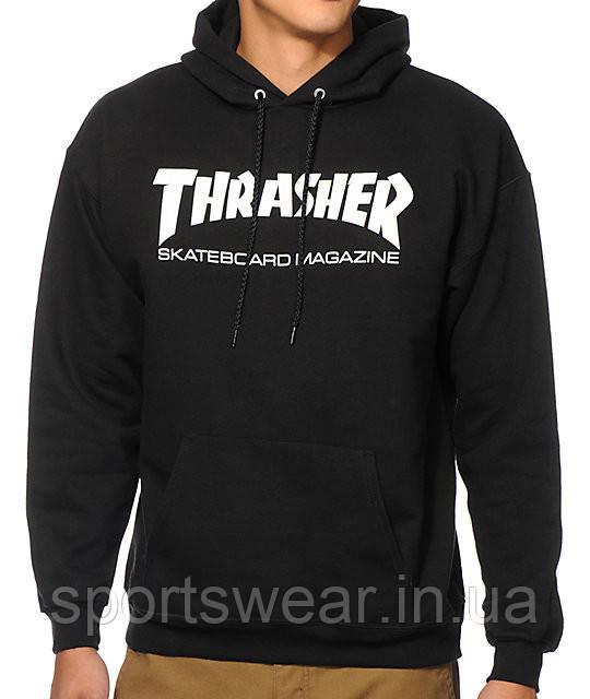 Худи Thrasher черное с белым логотипом, унисекс (мужское, женское, детское)