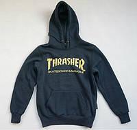Худи Thrasher Skateboard Magazine темно-синее с логотипом, унисекс (мужское, женское, детское)