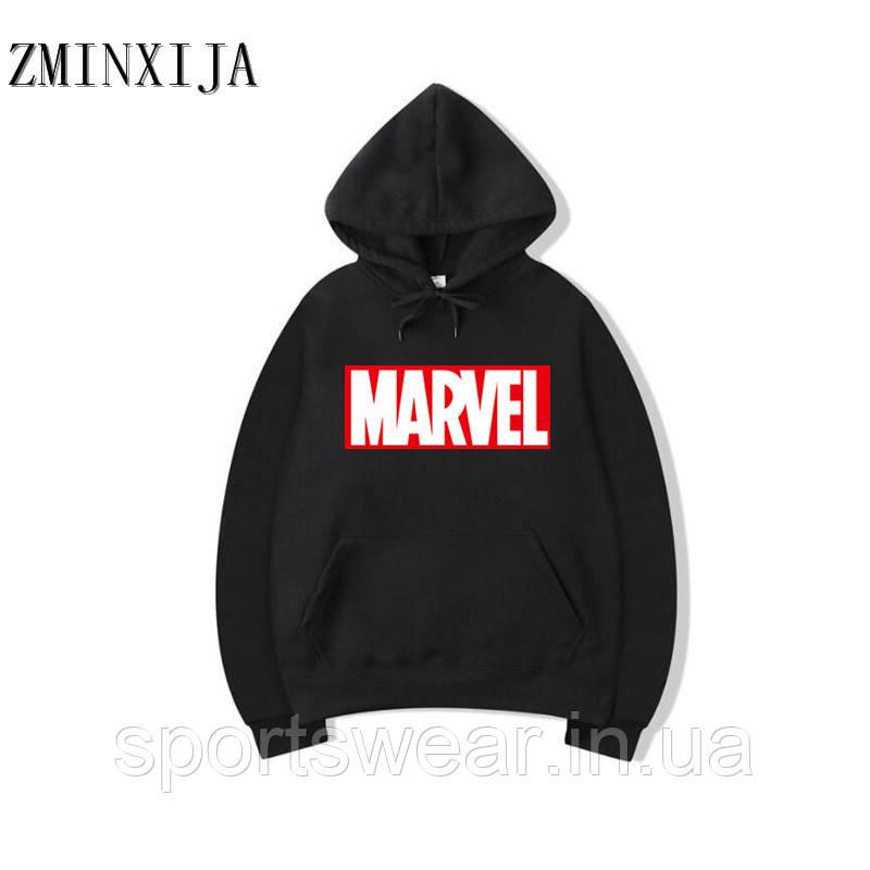 Худи Marvel черное с логотипом, унисекс (мужское, женское, детское)
