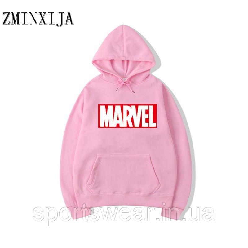 Худи Marvel розовое с логотипом, унисекс