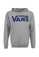 Худи Vans серое с синим логотипом, унисекс (мужское, женское, детское)