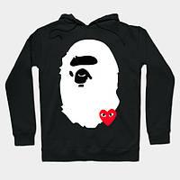 Худи CDG Play & BAPE черное с логотипом, унисекс (мужское, женское, детское)