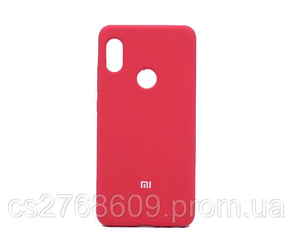 """Силікон """"Silicone Case Original"""" Xiaomi Redmi Note 5, Note 5 Pro малиновий закритий низ"""