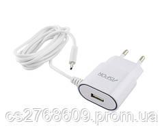 """Мережевий зарядний пристрій """"Aspor"""" A802 micro (1USB/1A) з кабелем LED (white)"""