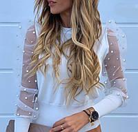 Нарядная женская блуза с шикарными рукавами из сетки с жемчугом Универсал