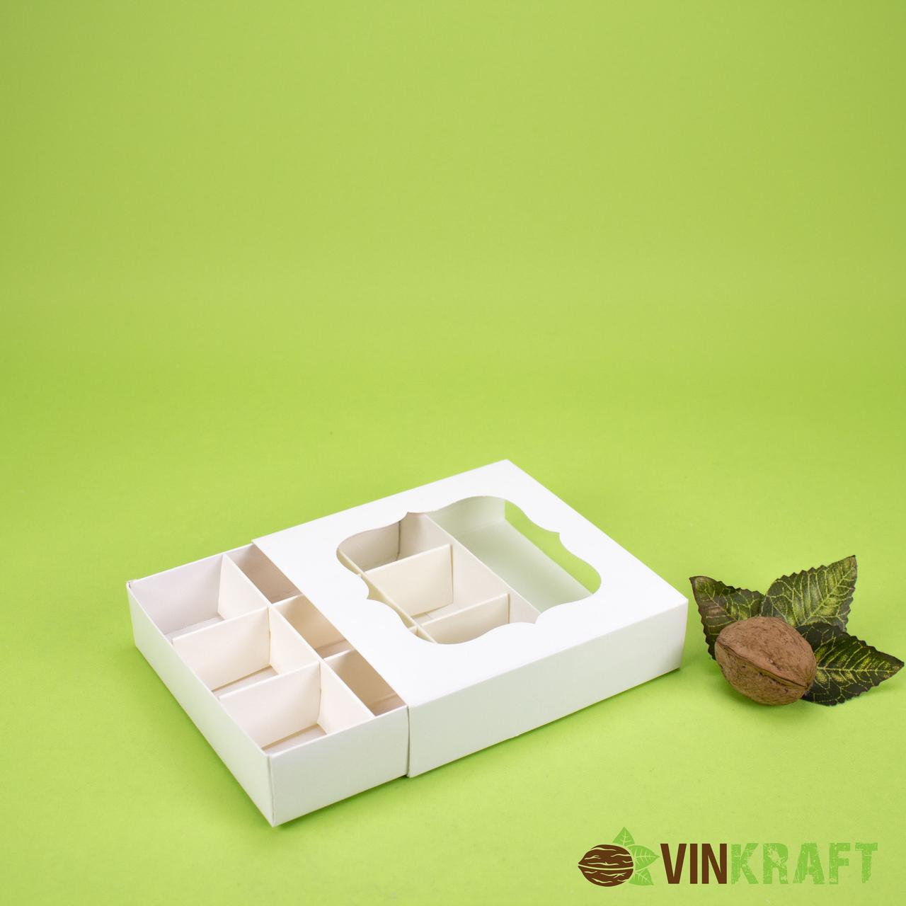 Коробка 120*120*30 для конфет с окном (9 шт), белая