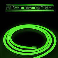 Комплект уличный (IP67) Неон светодиодный зелёный SMD2835 12V длина 5м, блок питания, коннекторы (20956/20692)