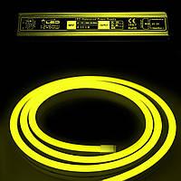Комплект уличный (IP67) Неон светодиодный жёлтый SMD2835 12V длина 5м, блок питания, коннекторы (20938/20692)
