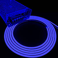 Комплект интерьерный (IP33) Неон светодиодный синий SMD2835 12V длина 5м, блок питания, коннекторы (20937/586)