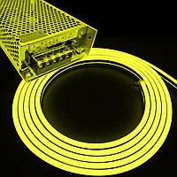 Комплект интерьерный (IP33) Неон светодиодный жёлтый SMD2835 12V длина 5м, блок питания, коннекторы (20938/586)