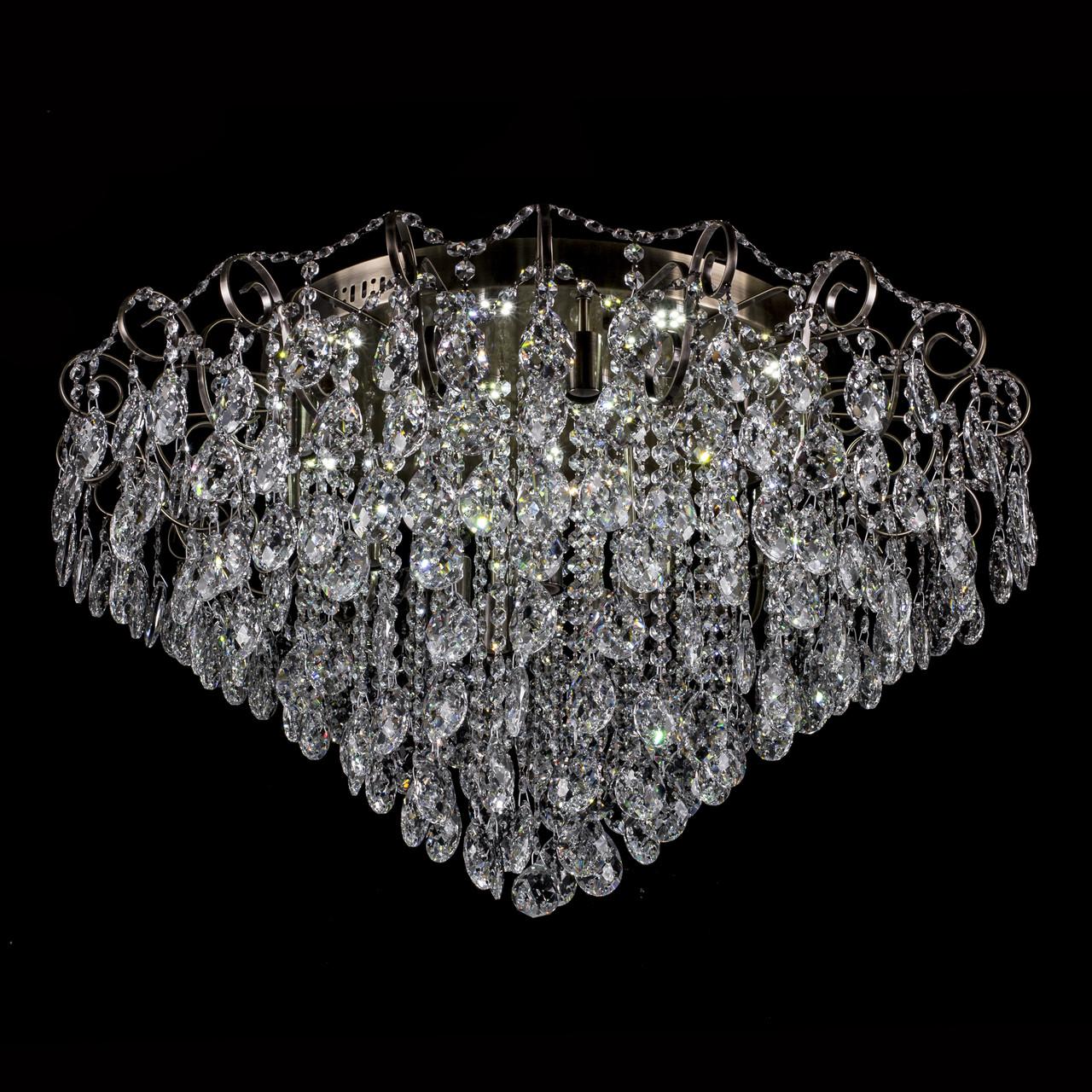 Кришталева люстра классичесская з LED підсвічуванням на 15 лампочок Прометей P5-E1136/15+15/AB