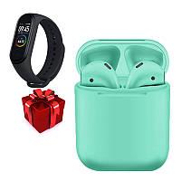 Беспроводные Bluetooth наушники inPods 12 зеленые + фитнес-браслет Mi Band 4 в ПОДАРОК