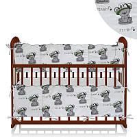 Защита в кроватку Мишка в кепке - Белый, Зеленый ТМ Беби-Текс - 218887