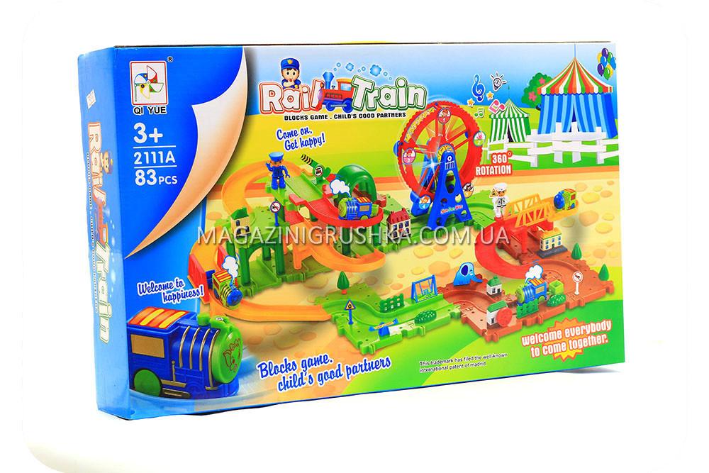 Трек детский «Rail train» (поезд, звук, свет, 83 детали)