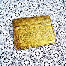 Кожаный картхолдер на 6 отделений золотистый