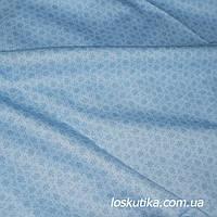54002 Ткань хлопковая с мелким рисунком. Голубая. Ткани для кукол, пэчворка, для художественной стежки.
