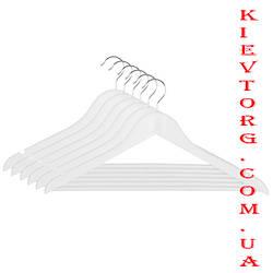 Плечики вешалки деревянные белые с перекладиной для одежды, 44 см