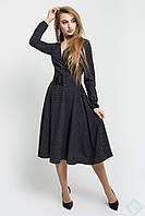 Нарядное молодежное расклешенное платье в мелкий горошек Айсель, фото 1