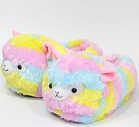 Тапочки-кигуруми разноцветные Альпаки, 36-40, тапочки игрушки, тапочки кигуруми, тапочки для дома, тапочки іграшки, тапочки кигуруми, тапочки для дому