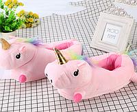 Детские тапочки игрушки Единороги розовые,31-35, тапочки игрушки, тапочки кигуруми, тапочки для дома, тапочки іграшки, тапочки кигуруми, тапочки для