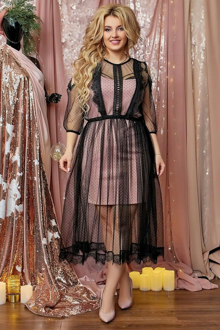 """Нарядное комбинированное платье-двойка """"Prisca"""" с вырезами на плечах (большие размеры)"""