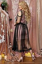 """Нарядное комбинированное платье-двойка """"Prisca"""" с вырезами на плечах (большие размеры), фото 2"""