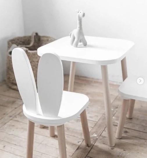 Столик квадратный детский 50*50 см белый (без стульчика) KR127