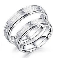 """Парные кольца из стали """"Вечность"""", жен. 15.7. 16.5, 17.3, 18, муж. 17.3, 18, 19, 20"""